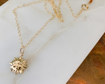 Gold Filled Sun Charm Necklace