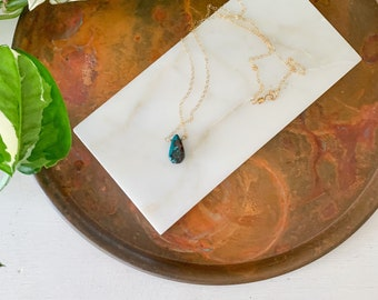 Blue Tear Drop Stone Necklace