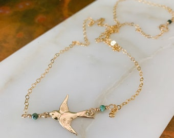 Gold Filled Sparrow Charm Necklace