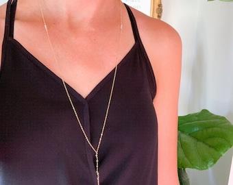 Faceted Tourmaline Delicate Drop Necklace