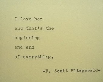 F Scott Fitzgerald Quote Made On Typewriter Wriers Quote Etsy