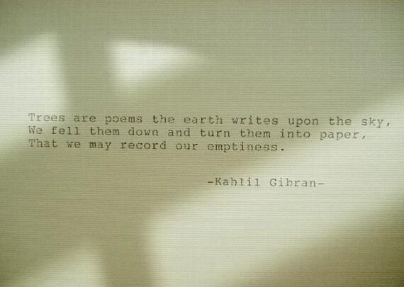 Khalil Gibran Poème Main Tapé Poème Fait Avec Machine à écrire Vintage Poème De Khalil Gibran
