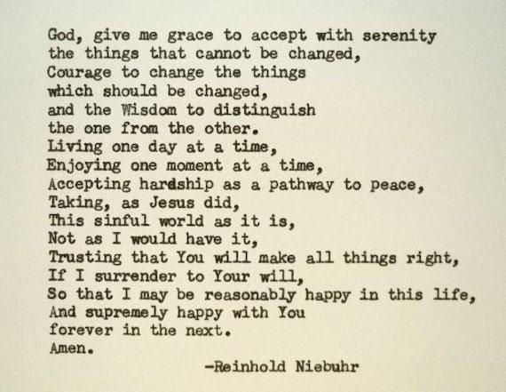 SERENITY PRAYER Poem Hand Typed Typewriter Quote Reinhold Niebuhr with  Vintage Typewriter Art Paper Goods Cards