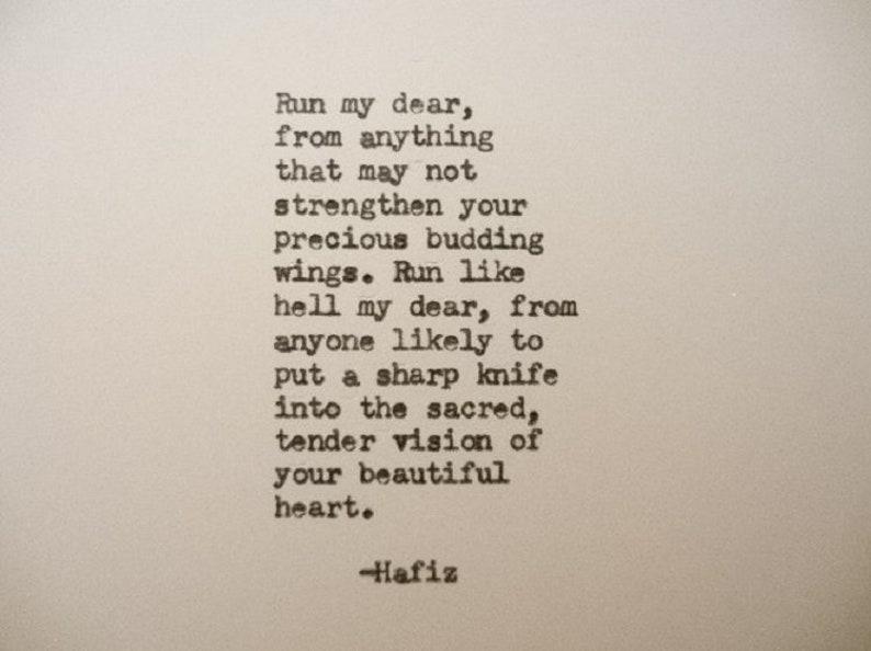 Hafiz Schreibmaschine Zitat Gedicht Kraft Mut Freundschaft Etsy