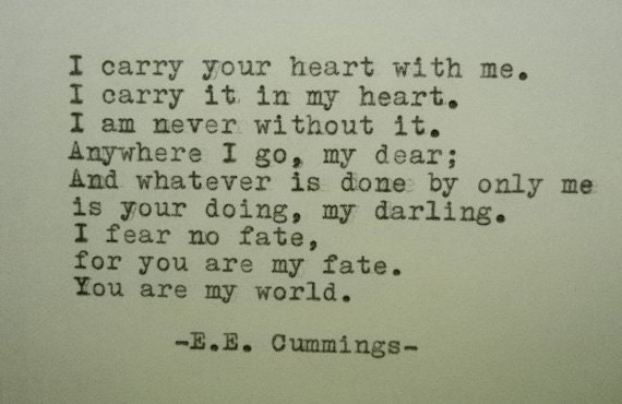 Ee Cummings I Carry Your Heart Poem Typed On Typewriter I Carry Your Heart With Me Poem Cummings Poem