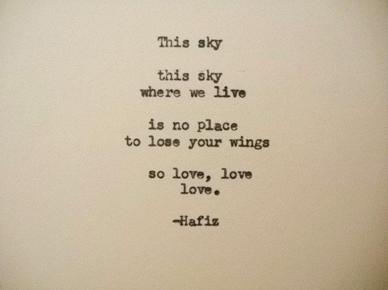 Hafiz Schreibmaschine Liebe Zitat Liebe Gedicht Kraft Himmel Etsy