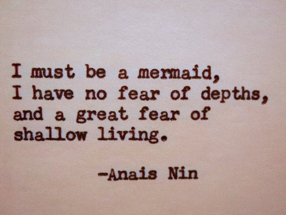 ANAIS NIN Quote Hand Typed Typewriter Quote Typed with Vintage Typewriter  Art Paper Goods Cards MERMAID Quote