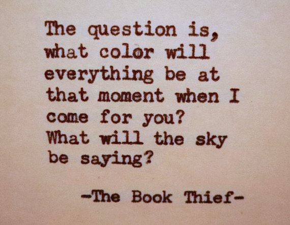 THE BOOK THIEF quote literary quote color sky book thief | Etsy
