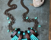 POSEIDON necklace - turquoise, brass and exotic wood