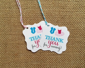 12 TIES OR TUTUS - Gender reveal baby shower Thank you favor tags (set of 12)