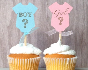 Gender reveal onesie baby shower Cupcake Toppers