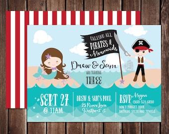 Pirates and Mermaids Birthday Printable PDF invitation - 5x7 double sided