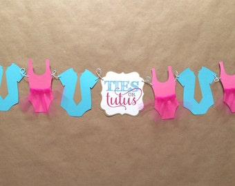 Ties or Tutus gender Reveal baby shower Banner/ Ties and Tutu twin baby shower