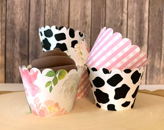 12 Pink Floral Farm Cupcake wrappers - Pink Gingham Cupcake Wrappers -Cow print cupcake wrappers - Watercolor floral cupcake wrappers