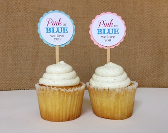 Gender reveal baby shower Cupcake Toppers (Pink or blue, we love you)