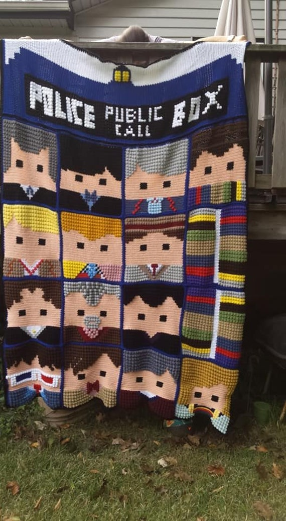 Doctor Who Faces Of The Doctor Afghan 13th Doctor Whoghan Etsy