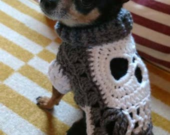 Handmade crochet dog sweater / vest / coat in Skull - Size SX to Small Pick your colors