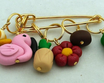Stitch Markers TROPICAL VACATION  for Knit or Crochet set of 6 Falmingo Palm Tree Coconut