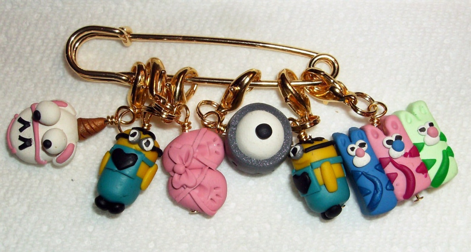 stitch markers despicabe movie inspired for knit or crochet set of 6 minion ballet shoes kittens