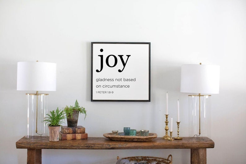 Joy Scripture framed Wood Sign 1 Peter 1:8-9