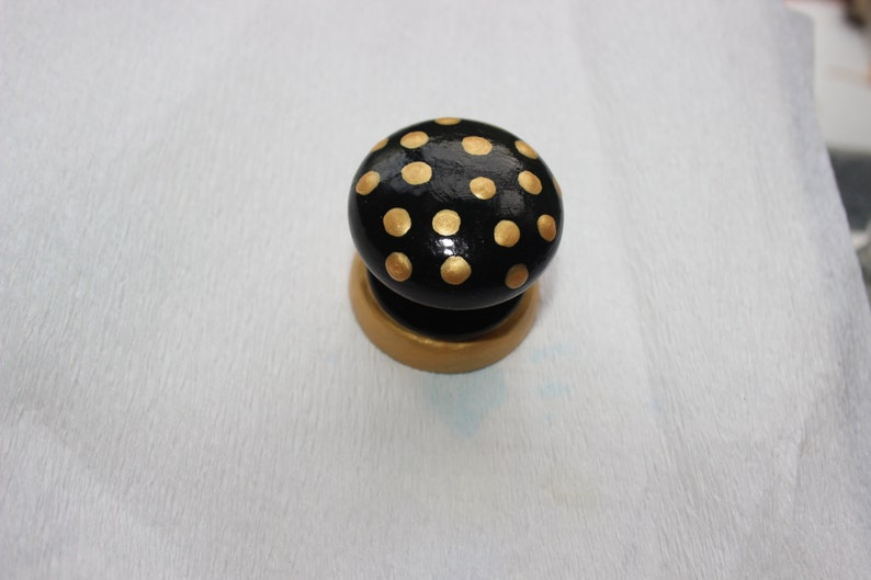 funky unique hand painted drawer pull knob neutral colours home decor modern natural decor black and gold dotty knob contrasting colour