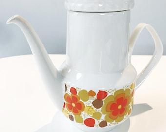 REDUCED Vintage 60s Pontesa Ironstine Coffee or Tea Pot with Orange Floral Design