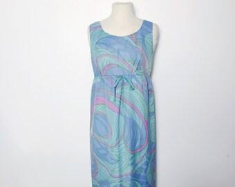 Vintage 1960s Empire Line Psychadelic Terylene Maxi Dress, Size S-M