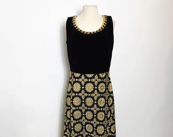 Beautiful Vintage Velvet and Brocade Black and Gold Maxi Beaded Dress - Medium