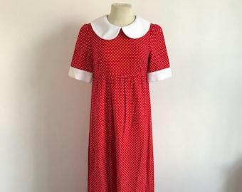 Vintage 1970s Harriet London Red Polka Dot Collar Maxi Dress - Medium