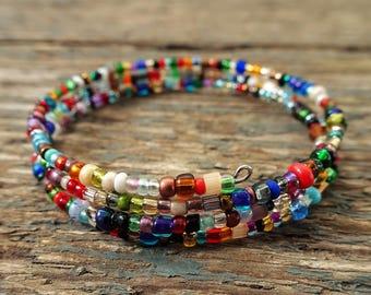 Seed Bead Bracelet, beaded bracelet, gift for her, boho bracelet, bracelet for girls, dainty Bracelet, memory wire bracelet, boho jewelry