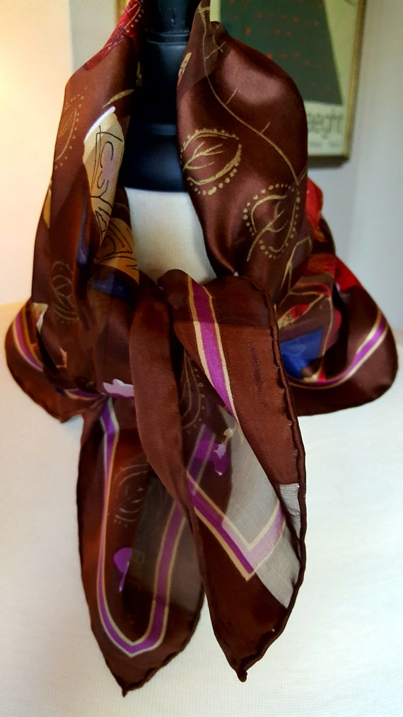 "BILL BLASS Silk Scarf Bandana / 20"" Square / Satin"