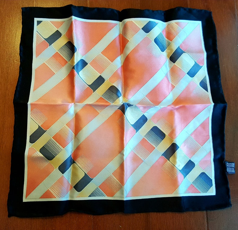 1947201836 Silk Pocket Square 12 Inches Handkerchief Black Peach White Hankie  Geometric Hankie Hand Rolled Classic Vintage