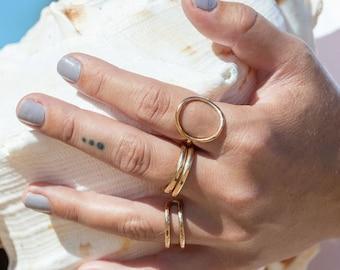 Gold Circle Ring, Pomakai'i, Gold Filled Circle Ring, Gold Statement Ring, Friendship Ring,Hawaiian Jewelry