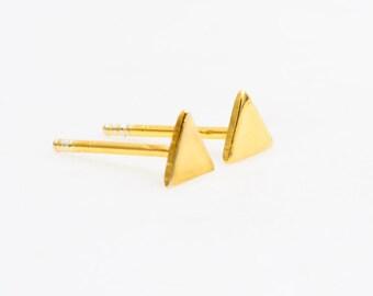 Keola Earring- Stud Earring, Gold Earring, Gold Triangle Earring, Triangle Stud Earring, Geometric Earring, Post Earring, Hawaii Jewelry