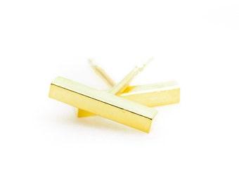 Wahine u'i earring - bar earring, gold bar earring, gold bar stud, gold stud earring, gold line earring, gold post earring, hawaii jewelry