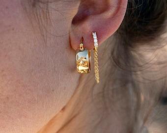 Medium Gold Starburst Hoop Earrings, classic gold hoop earring, gold hoop earring, gold hoop earring,simple hoops,gold earring,Hawaii