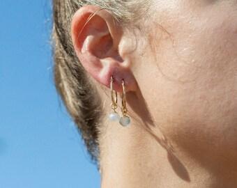 Rainbow Moonstone Gold Hoop Earrings - Ipolani, Gold filled Hoop Earrings, Small Hoop Earrings, Gemstone Hoops,Medium Hoop,Hawaii Jewelry