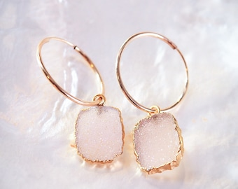 Blush Pink Druzy Gold Hoop Earrings - Kala'i, Gold filled Hoop Earrings,Small Hoop Earrings, Druzy Gemstone Hoops,Medium Hoop,Hawaii Jewelry