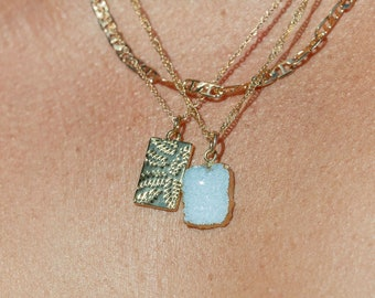 Sky Blue Druzy Delicate Gold Chain Necklace - Kehlani, gold necklace,gold druzy necklace,gold pendant necklace,Gold druzy Gemstone Necklace