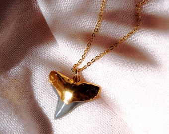 Mano niho kahi Black necklace - gold shark tooth necklace, black gold shark tooth, gold dipped shark tooth necklace, gold fossil shark tooth