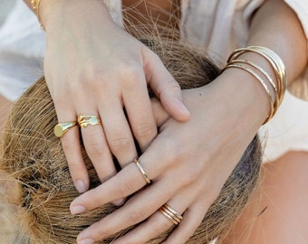 Gold Coin Ring, Gold Vermeil Ring, Gold Dot Ring, Gold Stack Ring, Simple Ring, Statement Ring, Vermeil Gold Ring, Kealoha, Hawaii jewelry