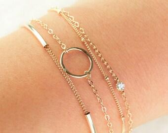 Hakumele bracelet - 14kt gold filled eternity bracelet, simple circle bracelet, delicate, anniversary gift, birthday, friendship bracelet