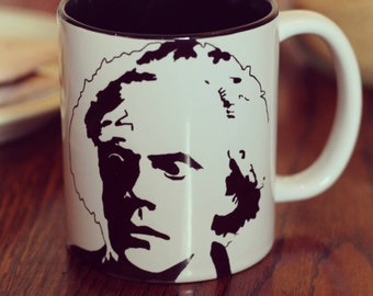 Christopher Lloyd, Doc Brown, Back To The Future, Who Framed Roger Rabbit,The Addams Family.  Hand Printed cup
