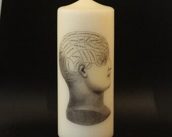 Phrenology Head - Pillar Candle - Anatomical Decor