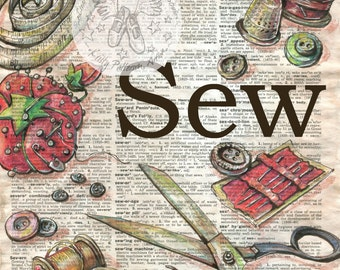 PRINT: Sewing Tools Mixed Media Drawing on Distressed, Dictionary Page