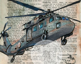 PRINT:  Helicopter Mixed media Drawing on Distressed, Dictionary Page