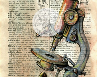 PRINT:  Microscope Mixed Media Drawing on Distressed, Dictionary Page