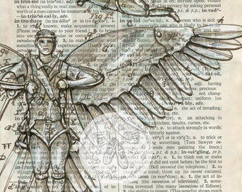 PRINT:  Invention Mixed Media Drawing on Distressed, Dictionary Page
