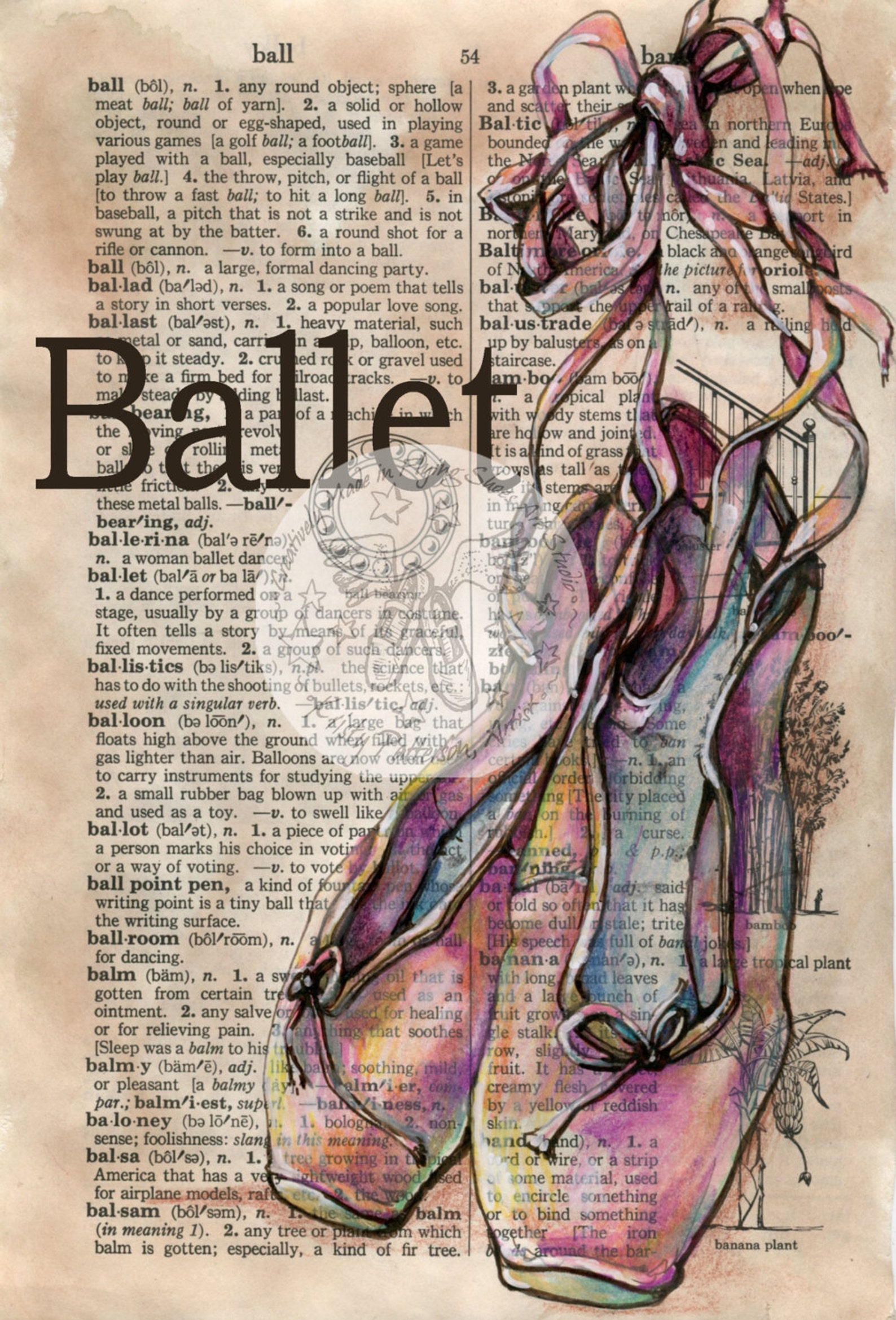 print: ballet shoes mixed media drawing on distressed, dictionary page