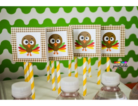 INSTANT DOWNLOAD Silly Turkey Party Water Bottle Labels Please Read Description Thoroughly Printable Parties to Go